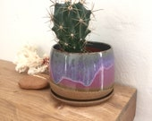 Pottery planter, lilac purple, succulent planter, cactus pot, houseplant, ceramic flower pot, gift for plant lover, sister, mom, coworker
