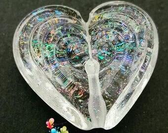 Lampwork Bead Faceted Rainbow Heart Focal