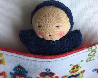 small handmade navy blue pocket doll, Waldorf doll, mini blanket, gift for boys,