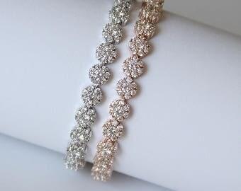 Modern Diamante Tennis Bridal Bracelet Wedding Bracelet Cocktail Jewelry