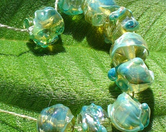 Lampwork Beads Handmade by Catalinaglass SRA Silver Shard Nuggets