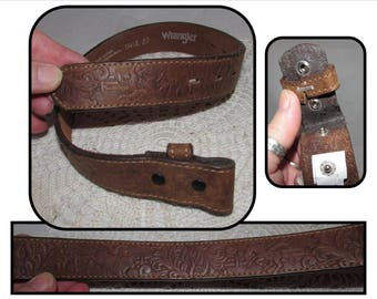 Vintage Child Sized Tooled Brown Leather Belt Only (no buckle) by Wrangler, size 18 w/ Rodeo design bulls horses, Western, Cowboy