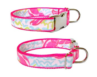 2017 LOBSTAH ROLL (NEON) Dog Collar and/or Leash with Bow or Flower Option Made from Lilly Pulitzer Fabric on Neon Pink Size: Your Choice