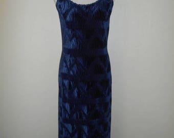 Closing Shop 40%off SALE Vintage 90's velvet long maxi dress gown   blue    womens women clothing clothes