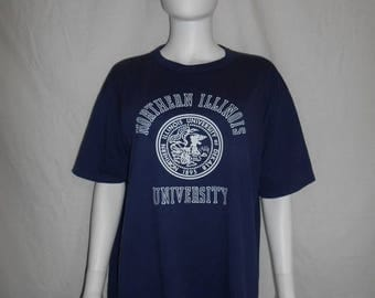 Closing Shop 40%off SALE 80s 90s Northern Illinois University t shirt, Russell Athletic  XL
