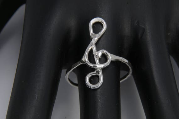 Treble Clef Note Solid Silver Ring (custom fit to any size)