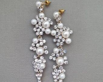Chandelier Bridal Earrings Wedding Statement Long Pearl Crystal Drop Rhinestone Gold Jewelry