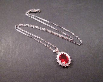 Cubic Zirconia Necklace, Red and White Rhinestone Oval Pendant, Silver Chain Necklace, FREE Shipping U.S.