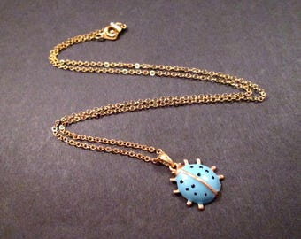 Lovely LADYBUG Necklace, Blue Enameled, Black Spots, Gold Pendant Necklace, FREE Shipping U.S.