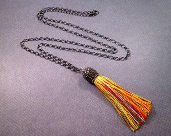 Tassel Necklace, Rayon Rainbow Tassel and Pave Rhinestone Pendant, Gunmetal Silver Chain Necklace, FREE Shipping U.S.