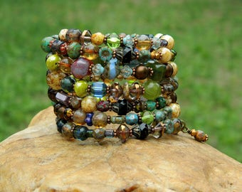 Boho Czech Bead Bangle