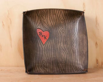 Leather Valet Tray for Him - Personalized Catchall in the Nice Pattern with Woodgrain and Heart - Red and Antique Black - Third Anniversary