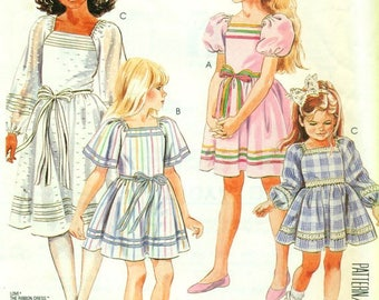 McCall's 2448 Pullover Dress Trimmed in Ribbon SIZE 2-3  ©1986