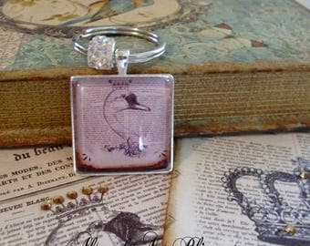 A Regal Swan, altered art key rings, gift boxed, illustration jewelry, graduation gifts,birthday,gifts for grads, swans,keyrings,bling
