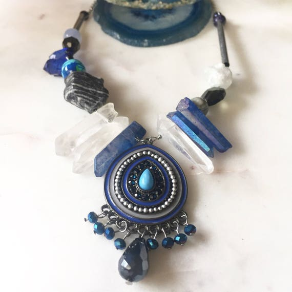 Ella Necklace Blue Mixed Media Crystal and Stone Statement Necklace