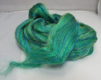 Firestar glitz green, glitz, blending fiber, spinning, roving, threadsthrutime, wool, firestar
