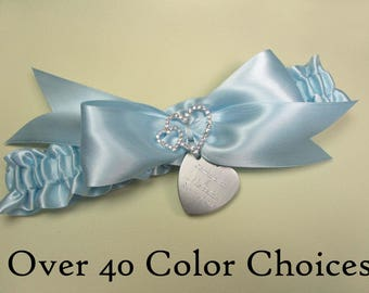 Personalized Wedding Garter in Custom Colors with  Engraving and Rhinestone Linked Hearts