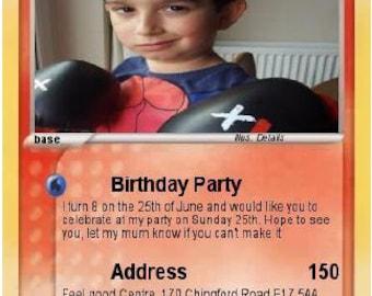 12 Pokemon Personalised Birthday Invitation Cards + FREE ENVELOPS