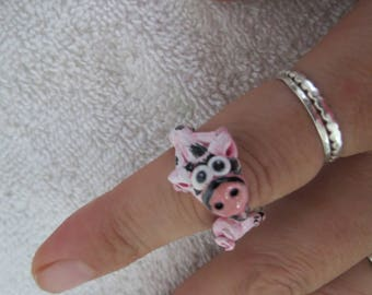 Pet Pig Handmade Clay Ring Sterling Silver base Made to Look like your Pig by Shannon Ivins