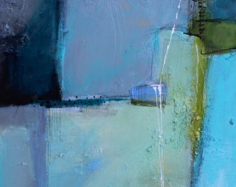 After The Storm  Mixed media textured Abstract painting 12 x 36  by artist and author Jodi Ohl