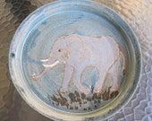 African Elephant Stoneware Plate/Slate Blue/Speckles/Wheelthrown Ceramics