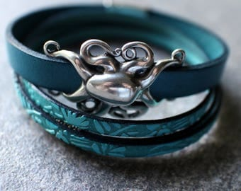 Teal Blue Leather with Octopus Slide and Embossed Leather Triple Wrap Bracelet Set, Magnetic Closure Bracelets, Sea Life Nautical Bracelet