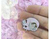 Crystal Cat Skull Lavender Variant Enamel Pin