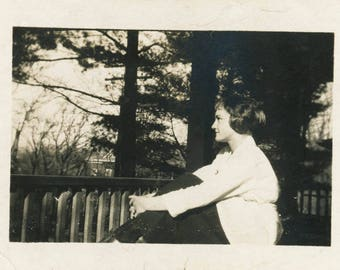 vintage photo 1920 Ashville Virginia Young Beauty Woman Sits thoughtful on Porch dreaming