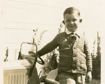Vintage photo 1937 Little Well Dressed Boy w Toy Car Confident Child
