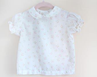 Vintage Baby Blouse / Vintage Floral Blouse / Vintage Pink Flower Baby Shirt / Size 6-9 Months