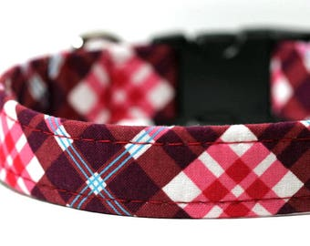 Tartan Dog Collar, Personalized Plaid Collar, Engraved Dog Collar - Red Raspberry Plaid