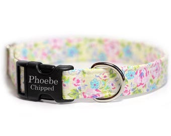 Personalized Floral Collar, Pink Flower Collar, Engraved Dog Collar, Pink a Boo (Shown with optional Enraving)