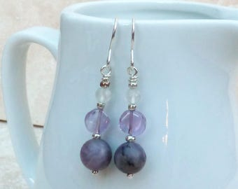 Purple Lepidolite & Amethyst Gemstone and Sterling Silver Bead Earrings - GEM050 - Handmade, Jewellery, Jewelry, Gift, Present, For Her