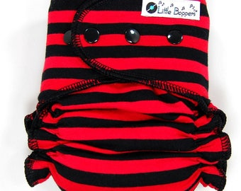Cloth Diaper or Cover Made to Order - Red and Black Stripes - You Pick Size Style - Striped Nappy or Wrap