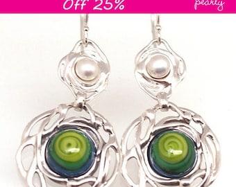 Sterling Silver Earrings   Lampwork Earrings   Glass Bead Earrings   Earring Gift   Silver Pearl Earrings   Handmade Earrings   Cabochon