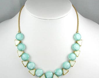 Aqua and White Glass Triangles and Circles Necklace