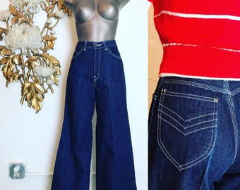 Vintage jeans dark denim jeans 1970s jeans high waist jean flared jeans 25 waist 1980s jeans bell bottom jeans 35 inseam