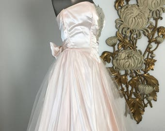 RESERVED 1980s dress party dress prom dress strapless dress size medium precious moments 1950s style dress 28 waist vintage dress full skirt