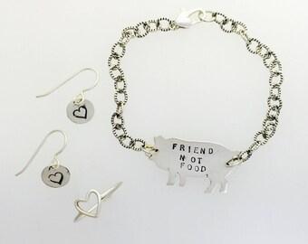 Compassionate Vegan Jewelry Bundle- 3 piece set-Vegan jewelry set- Vegan Bundle-vegan Gift-Vegan Fashion bundle-Vegan Birthday-Vegan jewelry
