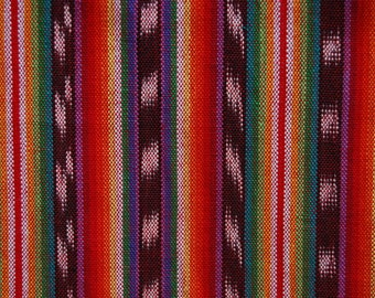 Vintage ethnic fabric Guatemalan woven fabric 3 yards Mayan rainbow fabric