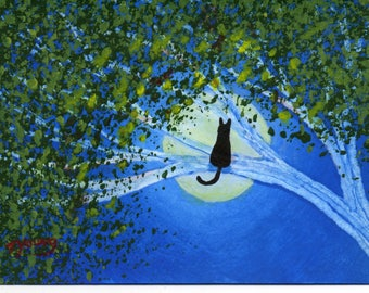 Black Cat modern folk art PRINT of Todd Young original painting SPRING MOON