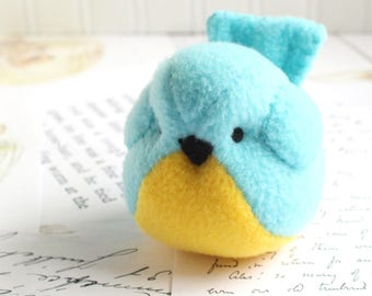 Blue and Yellow Fleece Bird Handmade Stuffed Animal Blue Bird Plushie Bluebird Stuffed Animal