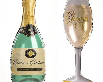 Champagne Balloon and Glass Set, Large or Small Foil Balloon, Bachelorette Party Balloons, Engagement Party Balloon, Photo Prop Balloon