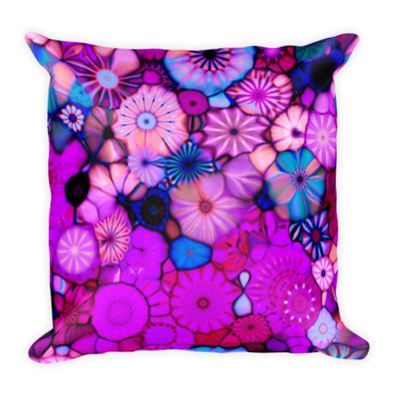 Artist Handmade Pink Purple Flowers Decorative Designer Pillow 16 inch Square with Zipper and Insert