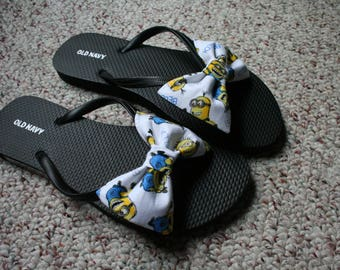 Minions Flip Flop Sandals fabric handmade to your shoe size