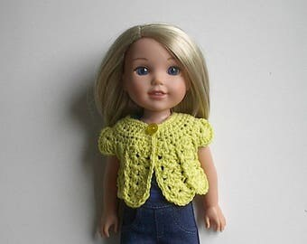 14.5 Inch Doll Clothes Crocheted Sweater Top Handmade to fit the Wellie Wishers and other similar dolls - Yellow