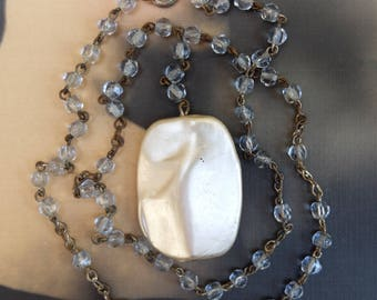 Vintage Linked Chain Necklace Glass Pearl Pendant