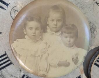 Antique Portrait Photo Pin Sepia Children
