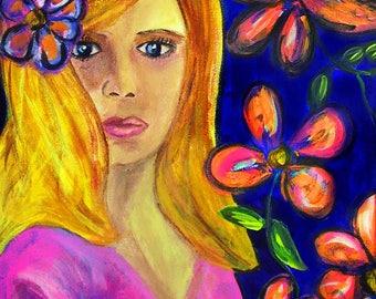 "Flower Girl Original Acrylic Portrait 12""x16"" Canvas"
