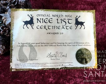 SALE 20% OFF - Official North Pole Nice List Certificate from Santa Claus and Rudolph